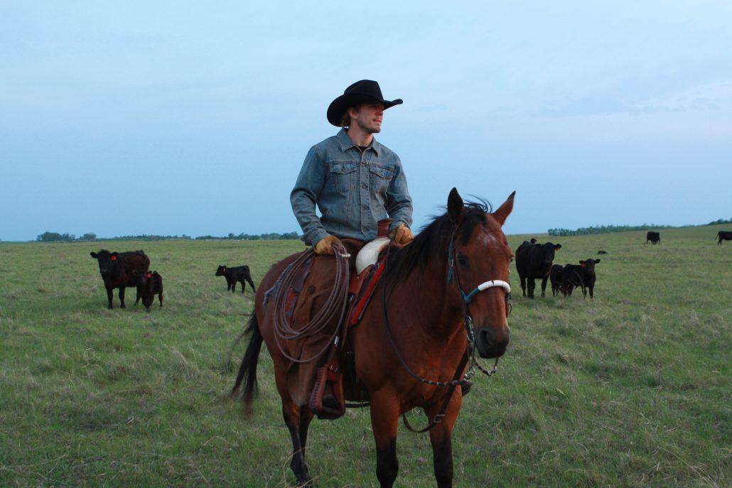 a cowboy riding at Black Leg Ranch ND