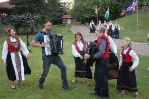 Dueling accordions! North Dakota native, Josh Duhamel, takes on one of the Norsk Hostfest's finest at the Scandinavian Heritage Park in Minot, ND.