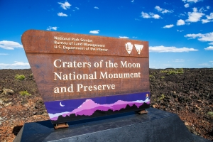 an essential stop in the girls roadtrip itinerary in Idaho is Craters of the Moon National Monument entrance, near Arco.