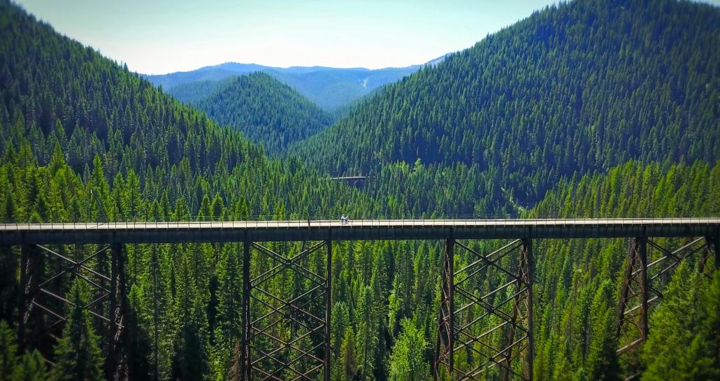 Trestle bridge on the Route of the Hiawatha bike trail